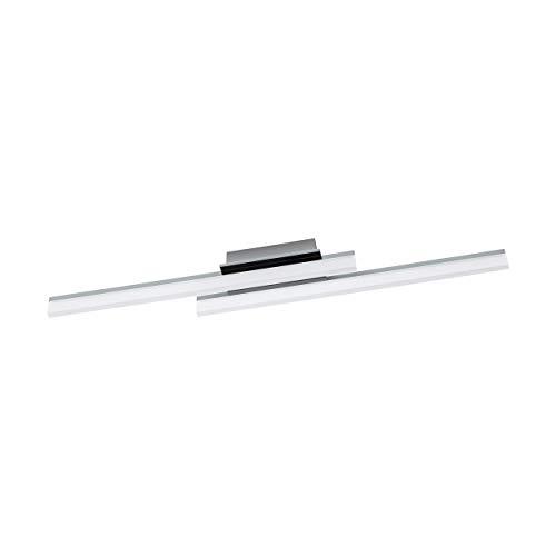 EGLO LED Deckenleuchte Lapela, 2 flammige Deckenlampe, Wohnzimmerlampe, Küchenlampe aus Aluminium, Stahl und Kunststoff, Flurlampe Decke in chrom, Satiniert
