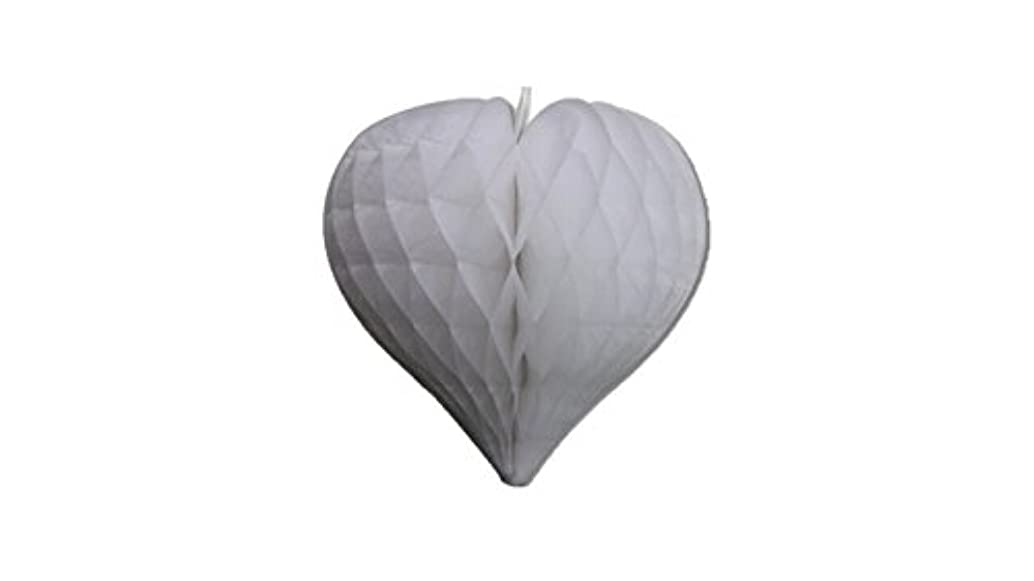 Matissa Pack of 3 Valentines Decoration Heart Shaped Paper Honeycomb Birthday Party Wedding Available in 11 Colours 3 Sizes (All White, 10
