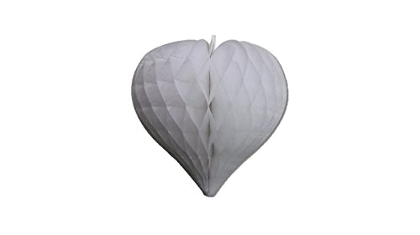Matissa Pack of 3 Valentines Decoration Heart Shaped Paper Honeycomb Birthday Party Wedding Available in 11 Colours 3 Sizes (All White, 12