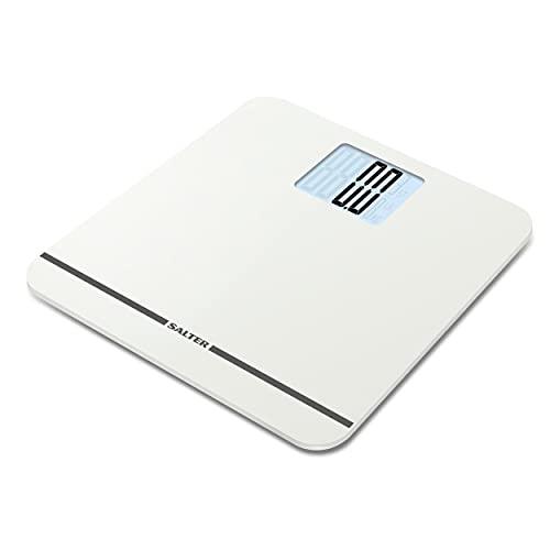 Salter Báscula de baño electrónica: báscula digital de 250 kg de capacidad, pantalla de fácil lectura, plataforma grande, escalón para lectura de peso instantánea, pies de alfombra para precisión en