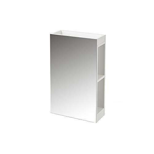 H HANSEL HOME Espejo de baño con Armario Blanco de Cristal y MDF contemporáneo, de 34x14x55 cm