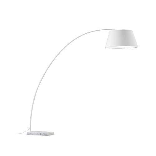 Kave Home - Lámpara de pie Juhe blanca de acero con base de mármol