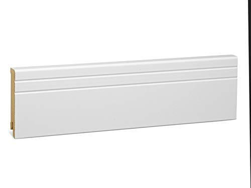 KGM Sockelleiste Neo – Weiß folierte MDF Fußbodenleiste – Maße: 2500 x 16 x 80 mm – 1 Stück