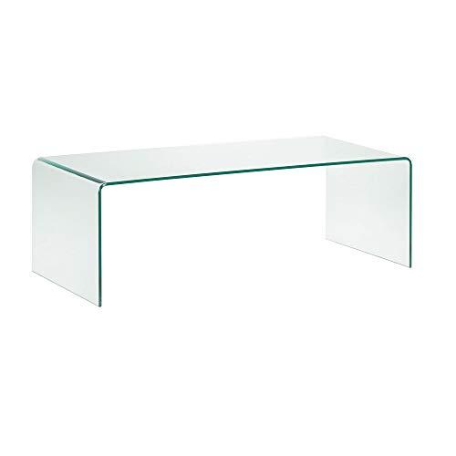 Tavolino Basso da Salotto Rettangolare in Vetro Temperato e Curvato (110 x 43 x 60 cm)- Luxury Z-01 - Design curvo e Moderno EGLEMTEK® TM