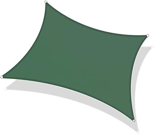 JLTX - Cubierta rectangular impermeable para vela 90% protección UV 2 colores y 5 tamaños para terraza de jardín balcón (color: verde, tamaño: 3,6 x 3,6 m)