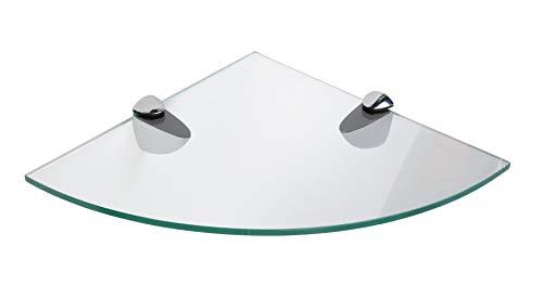 Eckregale aus gehärtetem Glas, 250 mm, 6 mm dick, für Badezimmer, Schlafzimmer, Küche, Büro, mit großen Regalhalterungen aus Chrom-Finish, Schwarz/Weiß/Transparent