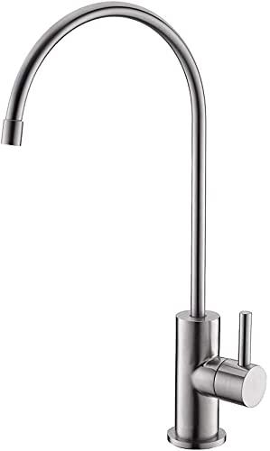 TEPET Grifo de ósmosis inversa de Acero Inoxidable, Agua Potable, purificador de Agua, Apto para Tubos de 1/4'y 3/8', níquel Cepillado