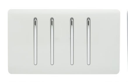 Trendi Artistic Modern Glossy 4 Gang 2 Way White Rocker Double Plate Tactile Light Switch in White