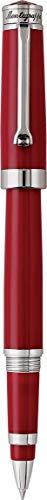 MONTEGRAPPA Collezione PAROLA Penna Roller, Rosso Amarone Finiture Acciaio -Made in Italy - Semplice Pratica Artigianale Essenziale