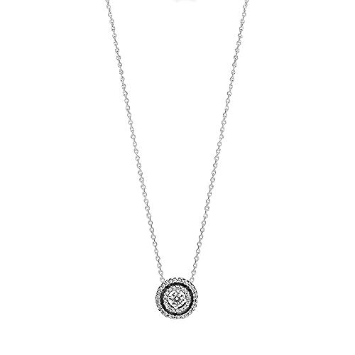 PANDORA, Collar de Doble Corona Brillante de Plata de Ley con circonitas 399414C01-45
