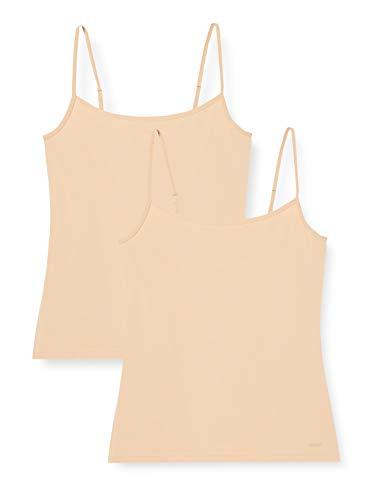 Skiny Damen Advantage Micro Spaghettishirt 2er Pack Unterhemd, Beige (Beige 2409), (Herstellergröße: 38)
