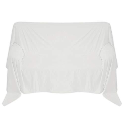 Nurtextil24 Sofaüberwurf in 30 Farben und 4 Größen Überwurf aus 100{a3d6fdf3df981b83ccd29ec2ea20821ba928351978dae15c238133097c803835} Baumwolle Weiß 240 x 250 cm