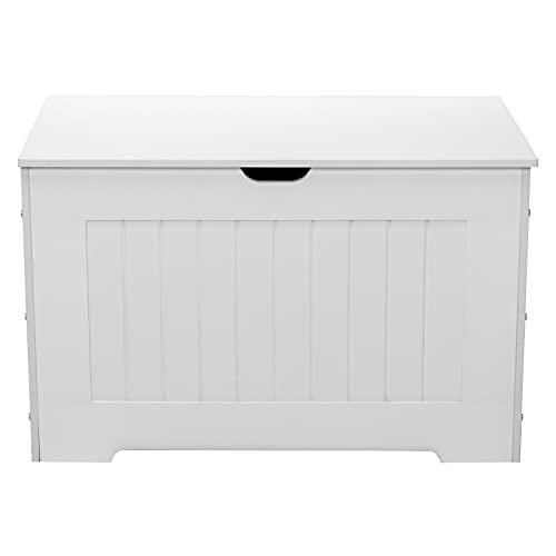 Cassapanca in legno con 2 cerniere di sicurezza, colore: bianco