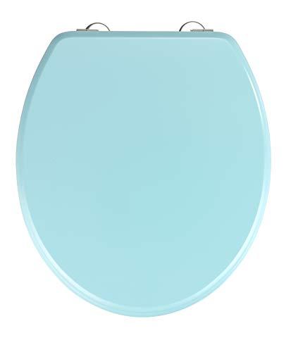 WENKO Abattant Prima bleu clair mat - Siège de WC, approprié pour les réservoirs de chasse d'eau, fixation en acier inox, MDF, 37 x 41 cm, Bleu clair