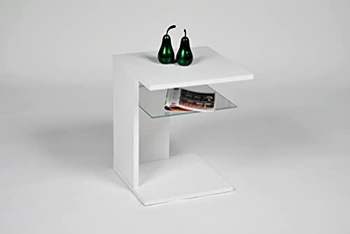 Alfa-Tische Polo Mesa Auxiliar Blanca Decorativa, Estante de Cristal, Dimensiones Aprox. 45 x 45 x 58 cm, Madera de ingeniería, Klein