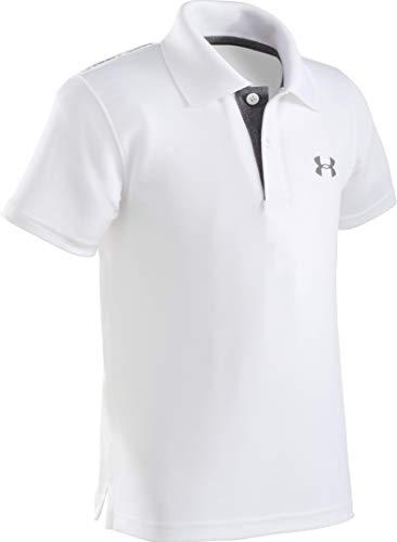 Under Armour Little Boys' Ua Logo Short Sleeve Polo, White, 7
