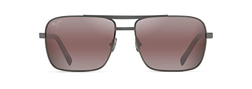 Maui Jim Men's Compass Aviator Sunglasses, Gunmetal/Maui Rose Polarized, Medium