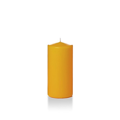 "Yummi 3"" x 6"" Harvest Gold Round Pillar Candles - 3 per Pack"