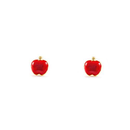 Pendientes Oro Bebe o Niña manzana esmalte rojo (9kts)