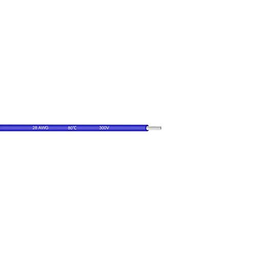sourcing map Cable eléctrico de PVC 28 AWG Cable trenzado de enganche de Cobre estañado 29.5ft azul