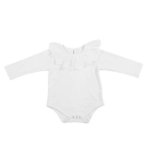Baby Meisje Lange Mouw Bodysuit Kant Kraag Katoen Baby Romper Jumpsuit Pasgeboren Outfits Kleding voor Baby Peuter 0-24 Maanden 80 Kleur: wit