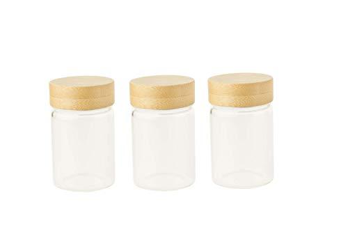 Pebbly PKV-030 Set de 3 Pots en Verre 75 ML avec Couvercle à vis en Bambou, Borosilicate, Transparent, Ø 4,7x7,5 cm