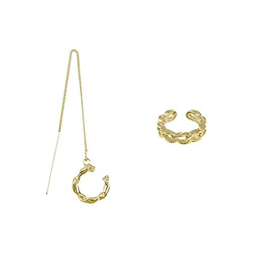DHDHWL Pendientes con borla y cadena para orejas de alta gama con sentido de oreja y clip de hueso para el viento frío para mujer, estilo retro y puerto sin perforar fresco (color: D)