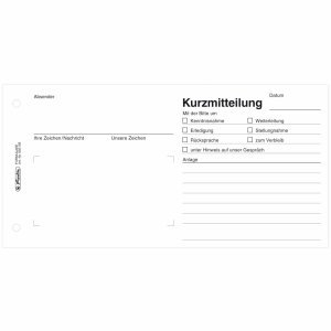 Preisvergleich Produktbild Herlitz 5 x Formularbuch Kurzmitteilung 21x10, 5cm 50 Blatt