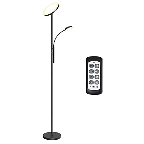 Tomons Lámpara de Pie Dimmer, LED Lámpara de Suelo con Doble Luz con Control Remoto, Atenuador Dimmer Continuo, 3 Temperaturas de Color, para Sala de Estar, Dormitorio, Oficina, Estudio, Negro
