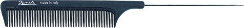 Jäneke Profi-Nadelstiel-Kamm 55821 aus Carbon (antistatisch), Karbonkamm zum Frisieren und Abteilen von Haarpartien, 21,5 cm, feine Zahnung