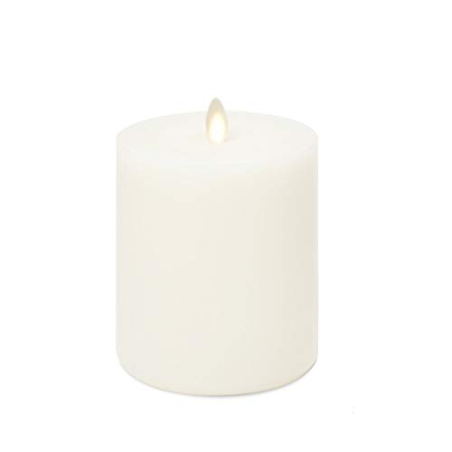 LightLi Flameless Pillar Candle Small (3.2 inches x 4.5 inches Tall), Touch Top Feature, Realistic Moving Flame with Timer, Flat Edge, Vanilla Honey Scent, Smooth Wax, Ivory, Battery Powered