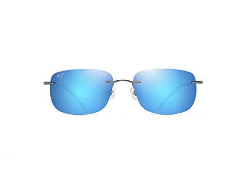 Maui Jim Ohai W Polarizedplus2 Lentes Gafas de sol rectangulares patentadas, azul (Gris metálico azul Hawaii polarizado), Large