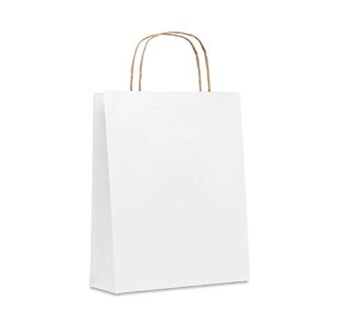 Bolsas Papel (lote 50 unidades) para tienda, regalo, disponibles en 6 colores diferentes, 3 Medidas (Blanco, Grande 32X12X40cm)