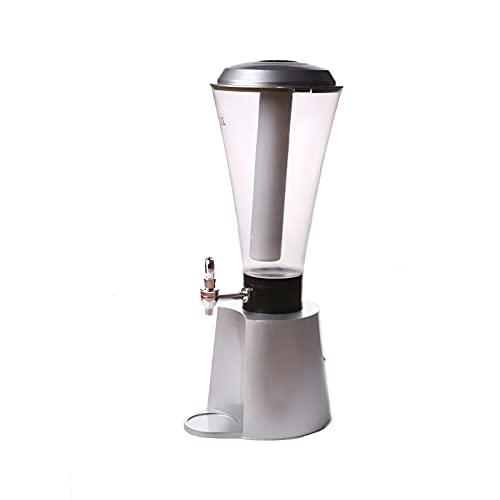 DAGCOT Dispensador de Vino de Plata de la Torre de Cerveza, Herramienta de dispensación de jugos de 3L 100 oz con Grifo de Luces y Tubo de Hielo, Mantenga más frío para la Noche de Fiesta
