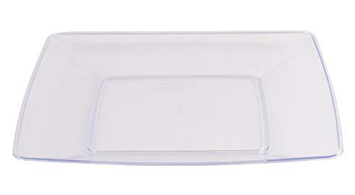 PLASTSCHICK 30 Stück Einwegteller Hart Plastik Quadratisch | 19 x 19 cm | Teller aus Kunststoff | sicherer als Glas - Premium