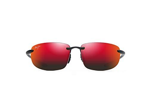 Maui Jim Ho'okipa - Gafas de sol rectangulares de ajuste asiático, rojo (Negro mate/Hawaii Lava Polarizado), Medium