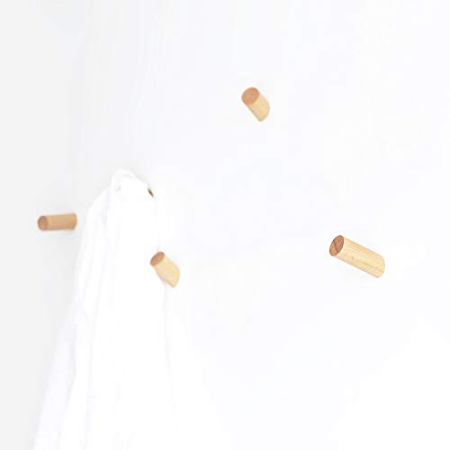 anaan One-Tenth Wandhaken Holz Garderobenhaken aus Massivholz Kleiderhaken Wanddeko Modern (Buche, 3er Set, S+M+L)