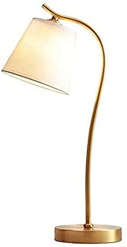 Lámparas de Mesa de latón Antiguas Lámpara de Escritorio Minimalista Luz de Dormitorio de Lino, lámpara de Escritorio de mesita de Noche Moderna LED Ø27 * H53CM