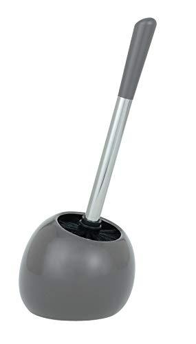 WENKO WC-Garnitur Polaris, hochwertiger Toilettenbürstenhalter aus edler Keramik, inklusive Toilettenbürste, 15 x 34,5 x 14,5 cm, Grau