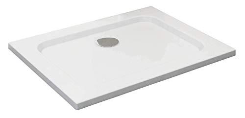 VILSTEIN Duschwanne 70 x 90 x 5 cm, sehr Flach, Duschtasse mit Gefälle, Sanitär-Acryl, Glasfaser verstärkte Wanne, DIN-Anschluss, Form: Rechteck, Weiß, Schneeweiß Hochglanz - ohne Ablaufgarnitur