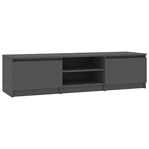 Qnotici Mueble para TV Soporte para TV Mesa para TV con 2 Puertas y 2 Compartimentos Abiertos, 140x40x35,5 cm, Gris
