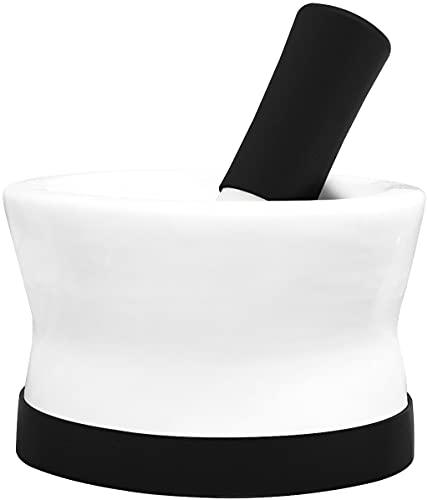 COOLER Mortero y mortero de Silicona y Porcelana Rojos EZ-Grip con Base de Silicona Desmontable Antideslizante (Mortar (Large Black))