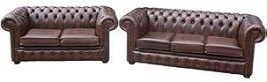 Designer Sofas4u Chesterfield 3+ 2marrón Piel sintética sofá Oferta