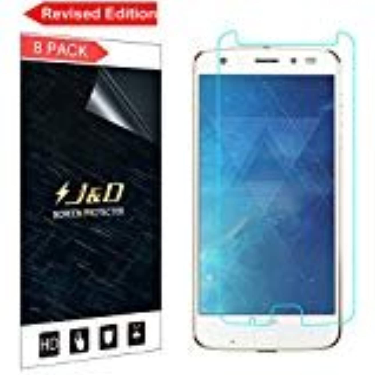 [Revised Edition] J&D Compatible for 8-Pack Moto Z2 Force/Moto Z2 Force Edition Screen Protector, Premium Clear Film Shield Screen Protector for Motorola Moto Z2 Force Crystal Clear Screen Protector