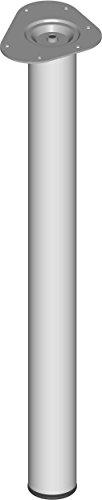 Element System 4 stuks stalen buispoten rond, tafelpoten, meubelpoten inclusief aanschroefplaat 70 cm wit-aluminium