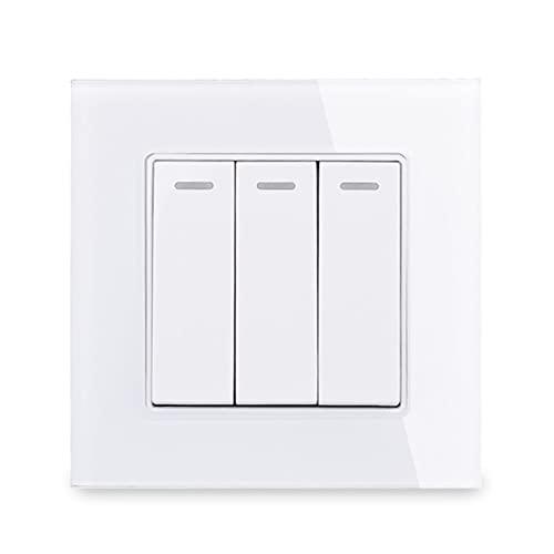 HLY-CASE Panel de Vidrio 3 Gang 1 Way Restablecer Interruptor de Pulso Interruptor de Contacto momentáneo Interruptor de pulsador Interruptor de la luz de la Pared 16A Diseño Elegante