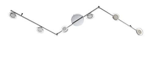 WOFI Deckenleuchte, 6-flammig, Serie Chloe, 6 x LED, 5 W, Breite 9 cm, Höhe 15 cm, Tiefe 180 cm, Kel