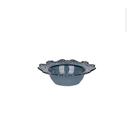 JSJJARF Vajillas Azul y Blanco Alivio Antiguo Cerámica Cena de Cena Conjunto de Porcelana Plato Principal Sirviendo Tray Postre Platos de Ensalada Vajilla 1 PC (Color : Blue 8 Inch Bowl)