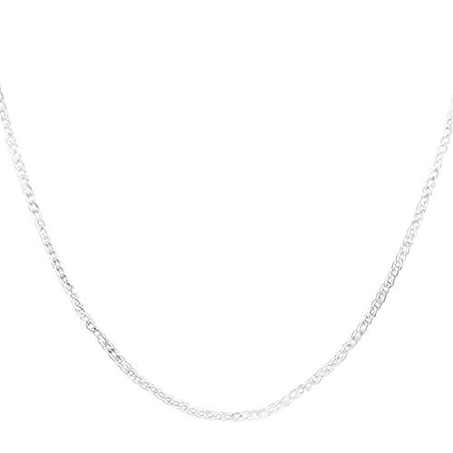 ZHUDJ 2mm 925 Plata esterlina 16/18/20/22/24/26/28/30 Pulgadas Collar Lateral Completo para Mujer Hombre Regalo joyería 70 cm Collar de Plata