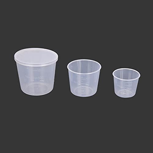 Vaso de medición graduado de plástico, 3 piezas claro laboratorio de cocina vaso de pesca taza medición cebo contenedor